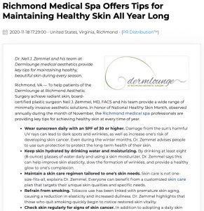 Dermlounge medical spa in Richmond, VA provides 5 skin care tips for National Healthy Skin Month.